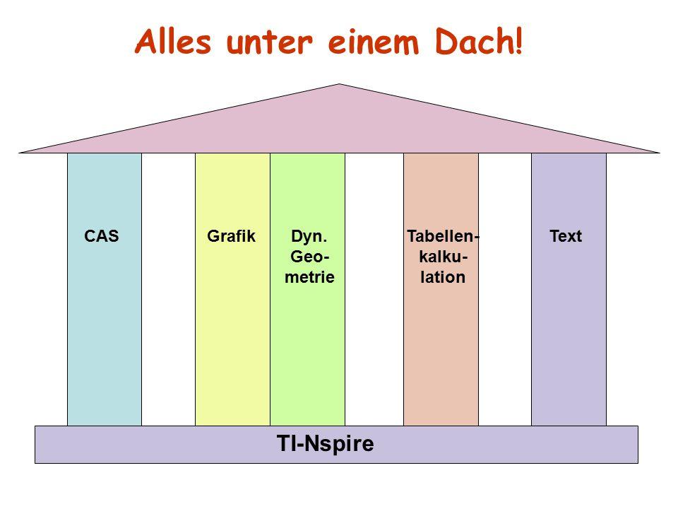 CAS Grafik Dyn. Geo- metrie Tabellen- kalku- lation Text TI-Nspire Alles unter einem Dach!