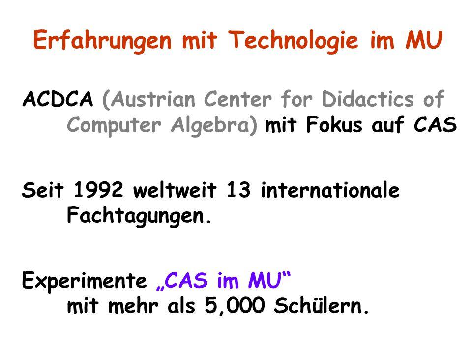 """ACDCA (Austrian Center for Didactics of Computer Algebra) mit Fokus auf CAS Seit 1992 weltweit 13 internationale Fachtagungen. Experimente """"CAS im MU"""""""