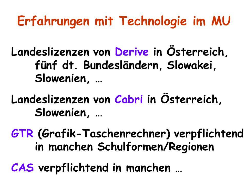 Landeslizenzen von Derive in Österreich, fünf dt. Bundesländern, Slowakei, Slowenien, … Landeslizenzen von Cabri in Österreich, Slowenien, … GTR (Graf