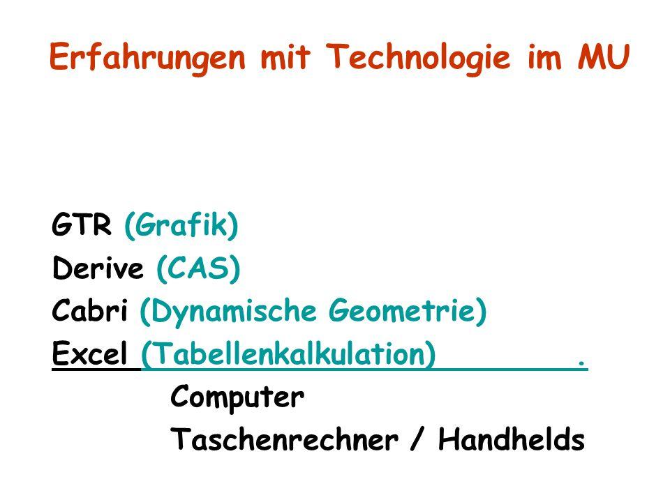 GTR (Grafik) Derive (CAS) Cabri (Dynamische Geometrie) Excel (Tabellenkalkulation). Computer Taschenrechner / Handhelds Erfahrungen mit Technologie im