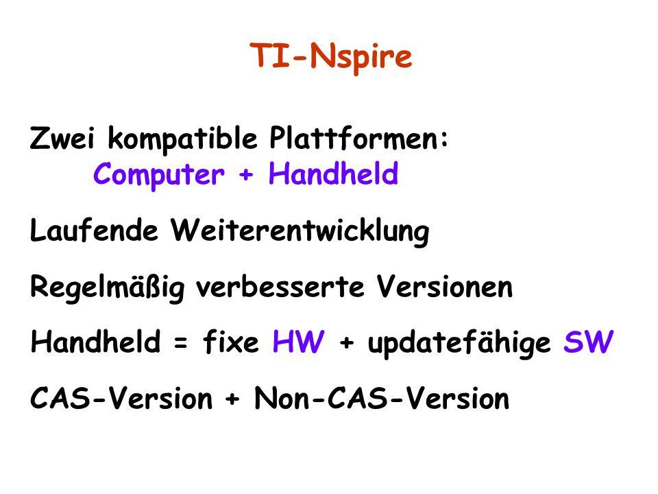 Zwei kompatible Plattformen: Computer + Handheld Laufende Weiterentwicklung Regelmäßig verbesserte Versionen Handheld = fixe HW + updatefähige SW CAS-