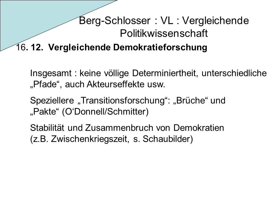 Berg-Schlosser : VL : Vergleichende Politikwissenschaft 16. 12. Vergleichende Demokratieforschung Insgesamt : keine völlige Determiniertheit, untersch
