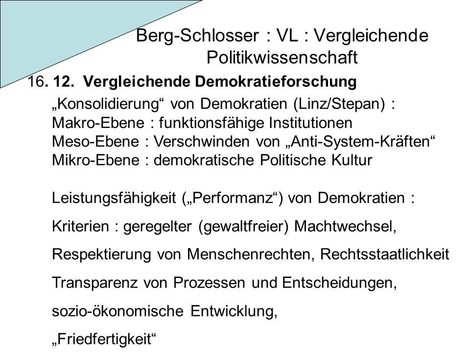 """Berg-Schlosser : VL : Vergleichende Politikwissenschaft 16. 12. Vergleichende Demokratieforschung """"Konsolidierung"""" von Demokratien (Linz/Stepan) : Mak"""