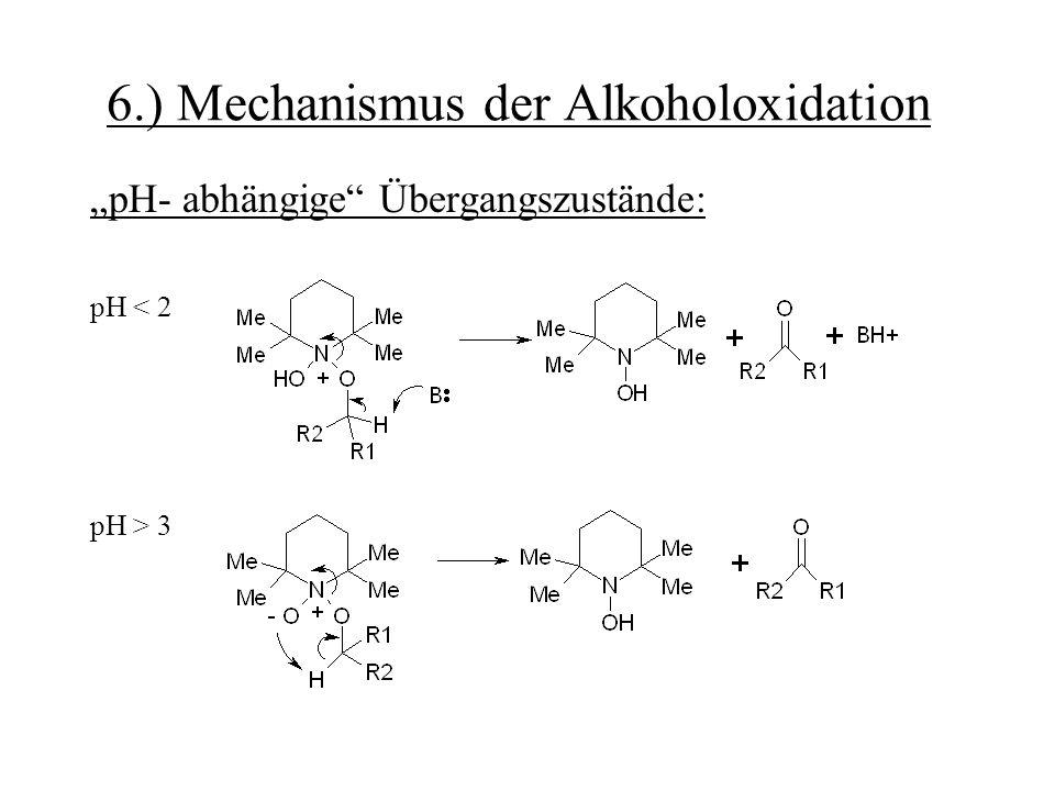 """6.) Mechanismus der Alkoholoxidation """"pH- abhängige"""" Übergangszustände: pH < 2 pH > 3"""