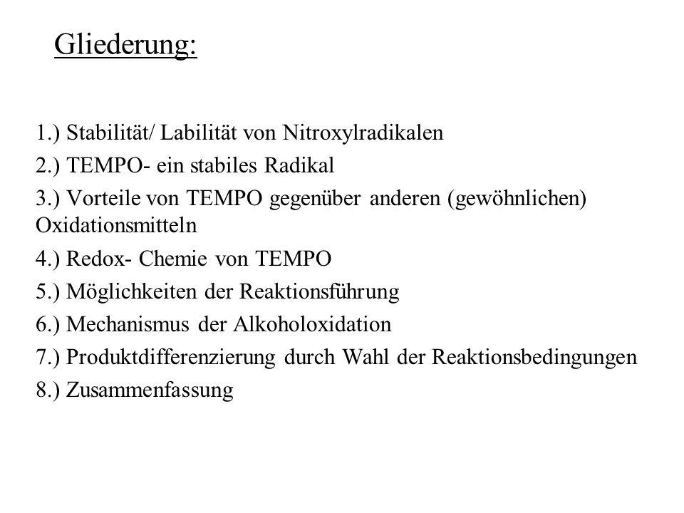 Gliederung: 1.) Stabilität/ Labilität von Nitroxylradikalen 2.) TEMPO- ein stabiles Radikal 3.) Vorteile von TEMPO gegenüber anderen (gewöhnlichen) Ox