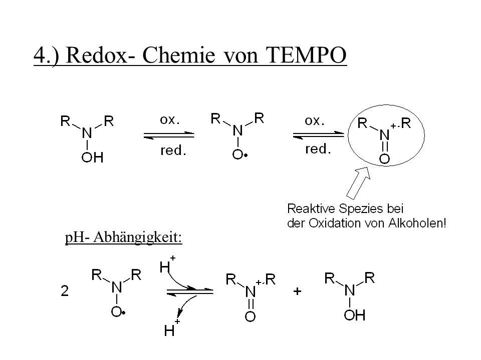 5.) Möglichkeiten der Reaktionsführung 5.1 Separate Darstellung des Oxoammoniumsalzes Vorteil: Kein Co- Oxidans in der Reaktionsmischung vorhanden Nachteil: Stöchiometrische Mengen an TEMPO nötig Wird im Vergleich zur katalytischen Reaktionsführung eher selten angewandt!