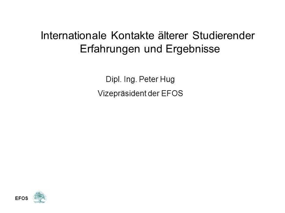 Internationale Kontakte älterer Studierender Erfahrungen und Ergebnisse Dipl.