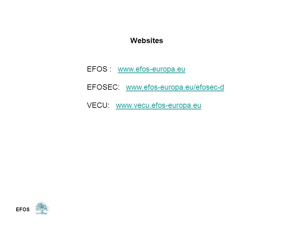 EFOS Websites EFOS : www.efos-europa.euwww.efos-europa.eu EFOSEC: www.efos-europa.eu/efosec-dwww.efos-europa.eu/efosec-d VECU: www.vecu.efos-europa.euwww.vecu.efos-europa.eu