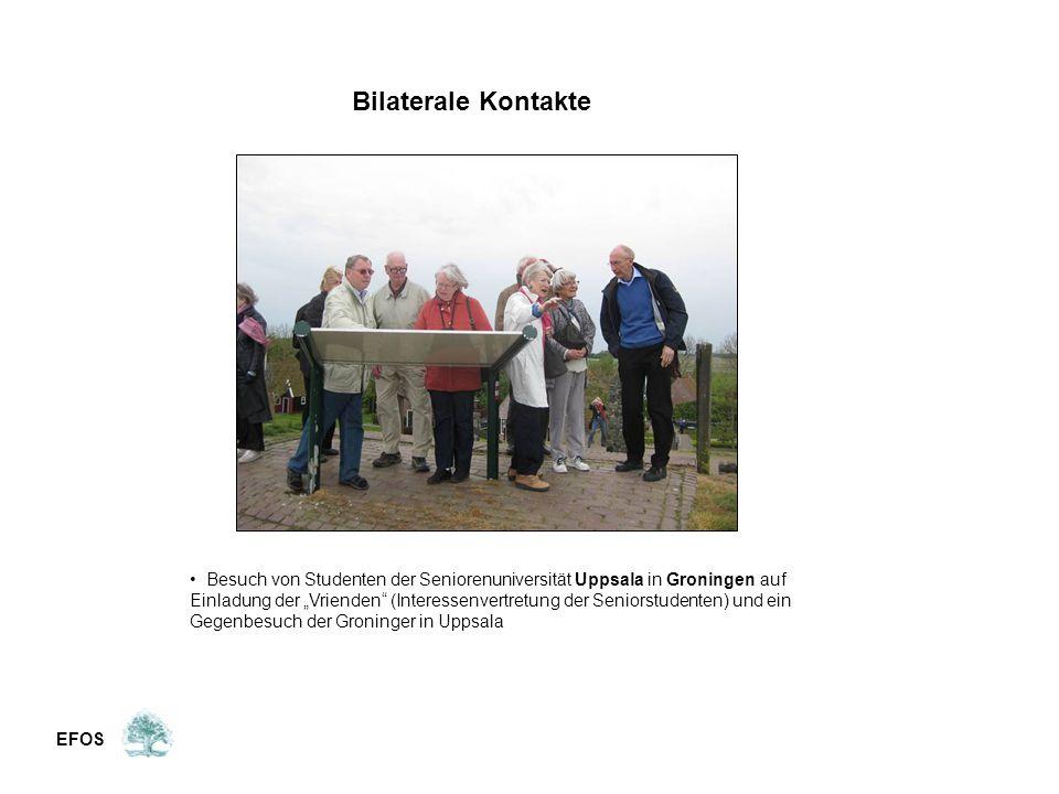 """EFOS Bilaterale Kontakte Besuch von Studenten der Seniorenuniversität Uppsala in Groningen auf Einladung der """"Vrienden (Interessenvertretung der Seniorstudenten) und ein Gegenbesuch der Groninger in Uppsala"""