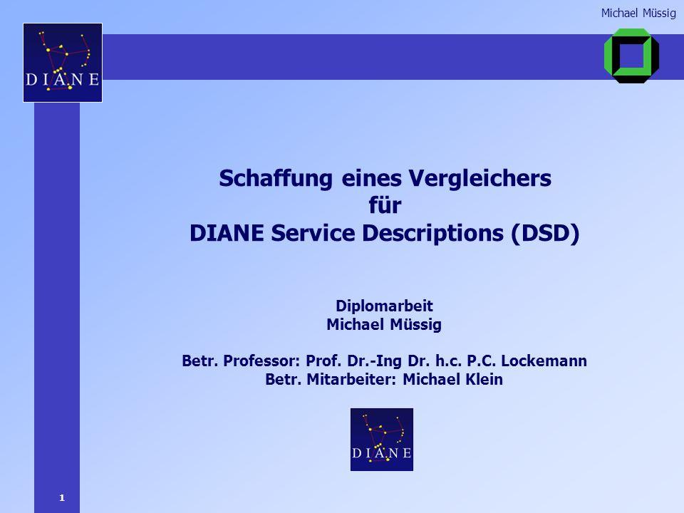 1 Michael Müssig Schaffung eines Vergleichers für DIANE Service Descriptions (DSD) Diplomarbeit Michael Müssig Betr.