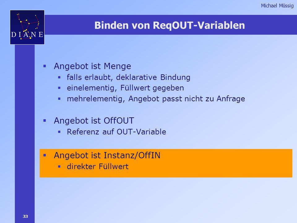 33 Michael Müssig Binden von ReqOUT-Variablen  Angebot ist Menge  falls erlaubt, deklarative Bindung  einelementig, Füllwert gegeben  mehrelementig, Angebot passt nicht zu Anfrage  Angebot ist OffOUT  Referenz auf OUT-Variable  Angebot ist Instanz/OffIN  direkter Füllwert