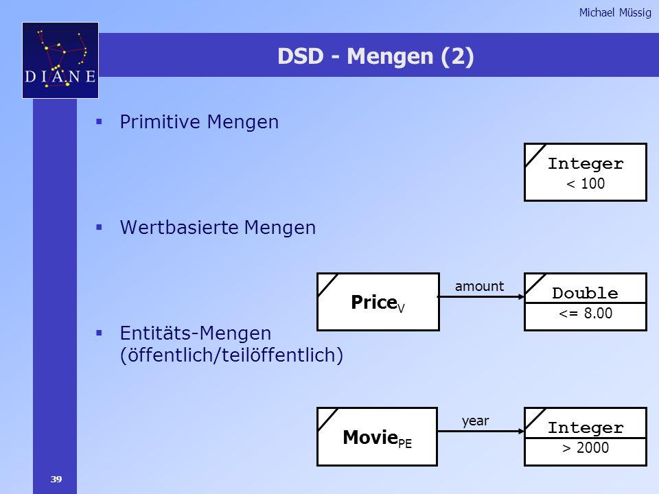 39 Michael Müssig DSD - Mengen (2)  Primitive Mengen  Wertbasierte Mengen  Entitäts-Mengen (öffentlich/teilöffentlich) Integer < 100 Price V amount Double <= 8.00 Movie PE year Integer > 2000