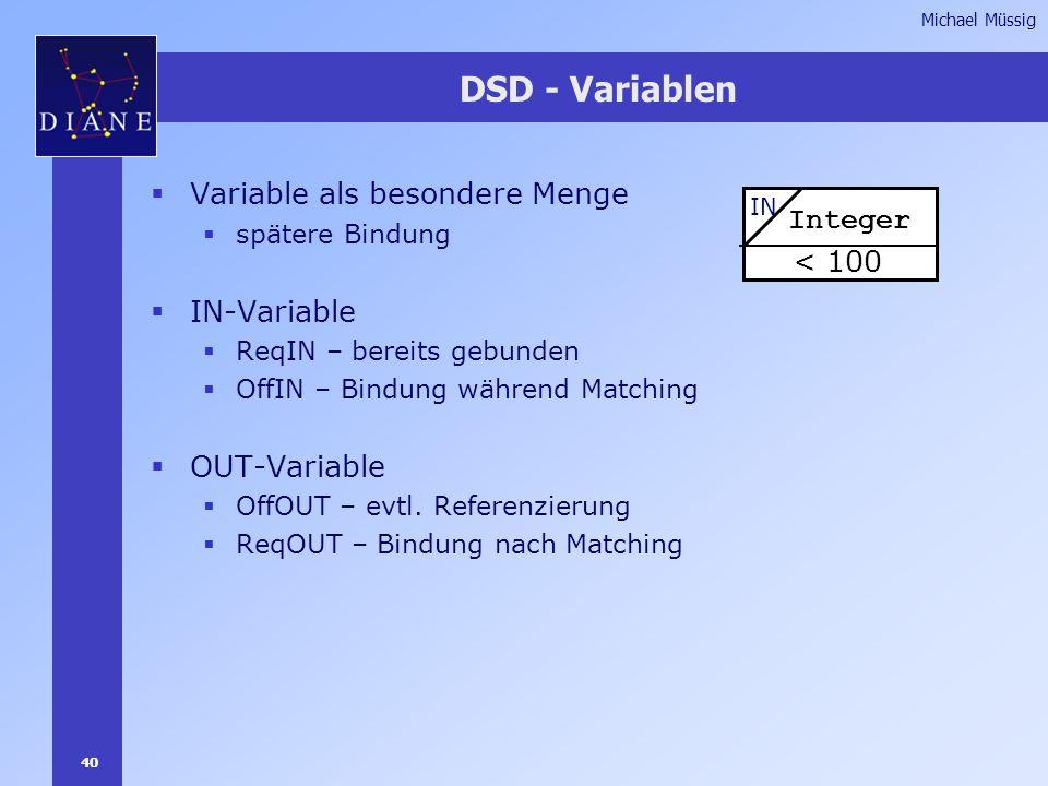 40 Michael Müssig DSD - Variablen  Variable als besondere Menge  spätere Bindung  IN-Variable  ReqIN – bereits gebunden  OffIN – Bindung während Matching  OUT-Variable  OffOUT – evtl.