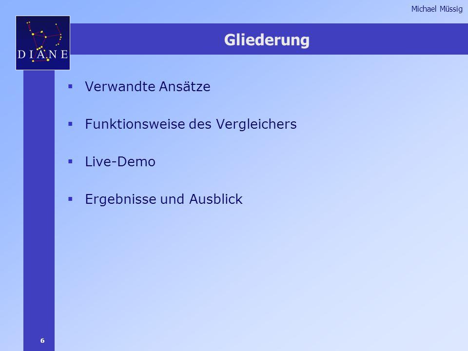 6 Michael Müssig Gliederung  Verwandte Ansätze  Funktionsweise des Vergleichers  Live-Demo  Ergebnisse und Ausblick