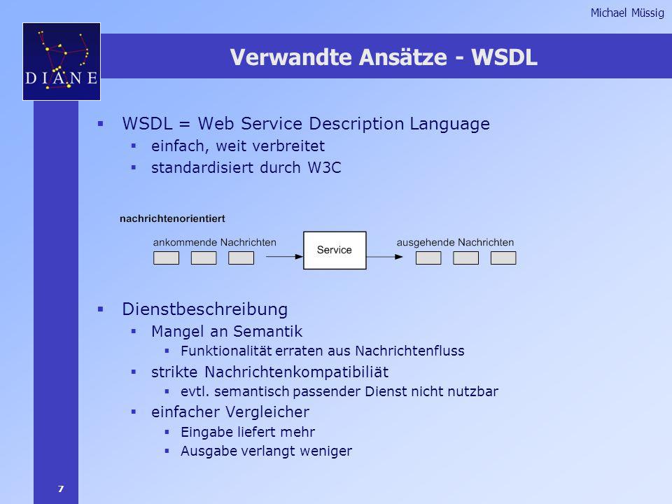 7 Michael Müssig  WSDL = Web Service Description Language  einfach, weit verbreitet  standardisiert durch W3C  Dienstbeschreibung  Mangel an Semantik  Funktionalität erraten aus Nachrichtenfluss  strikte Nachrichtenkompatibiliät  evtl.