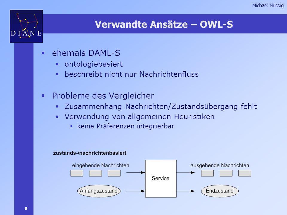 8 Michael Müssig Verwandte Ansätze – OWL-S  ehemals DAML-S  ontologiebasiert  beschreibt nicht nur Nachrichtenfluss  Probleme des Vergleicher  Zusammenhang Nachrichten/Zustandsübergang fehlt  Verwendung von allgemeinen Heuristiken  keine Präferenzen integrierbar