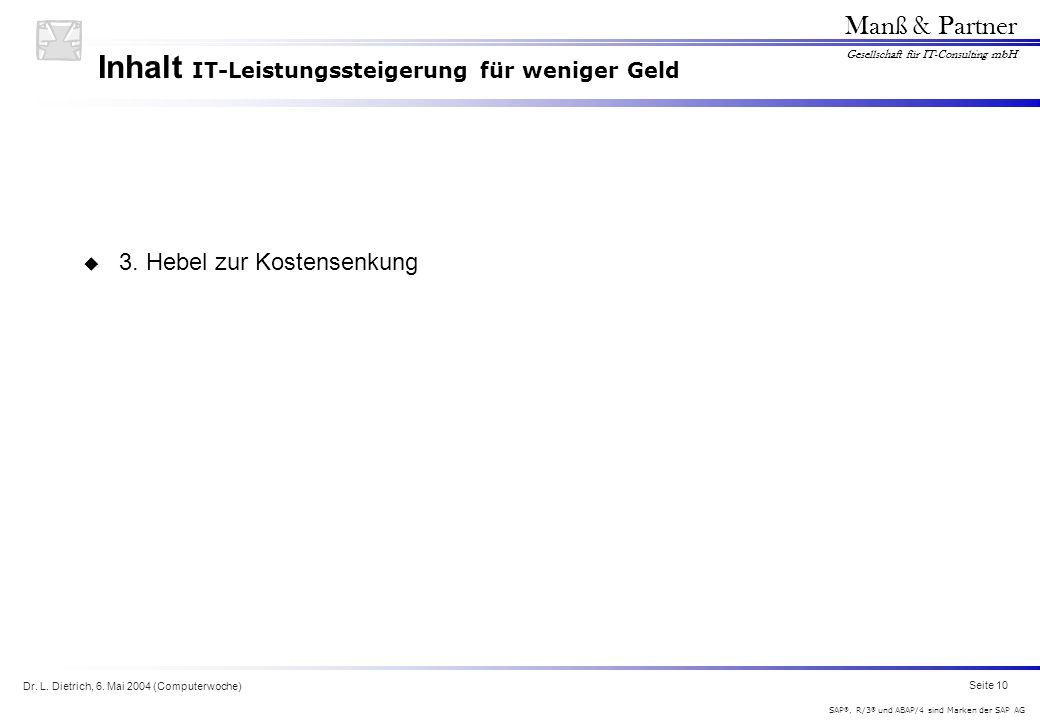 Dr. L. Dietrich, 6. Mai 2004 (Computerwoche) Seite 10 Manß & Partner Gesellschaft für IT-Consulting mbH SAP ®, R/3 ® und ABAP/4 sind Marken der SAP AG