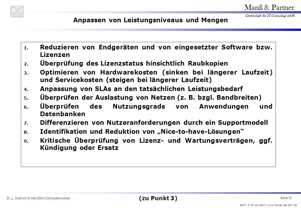Dr. L. Dietrich, 6. Mai 2004 (Computerwoche) Seite 12 Manß & Partner Gesellschaft für IT-Consulting mbH SAP ®, R/3 ® und ABAP/4 sind Marken der SAP AG