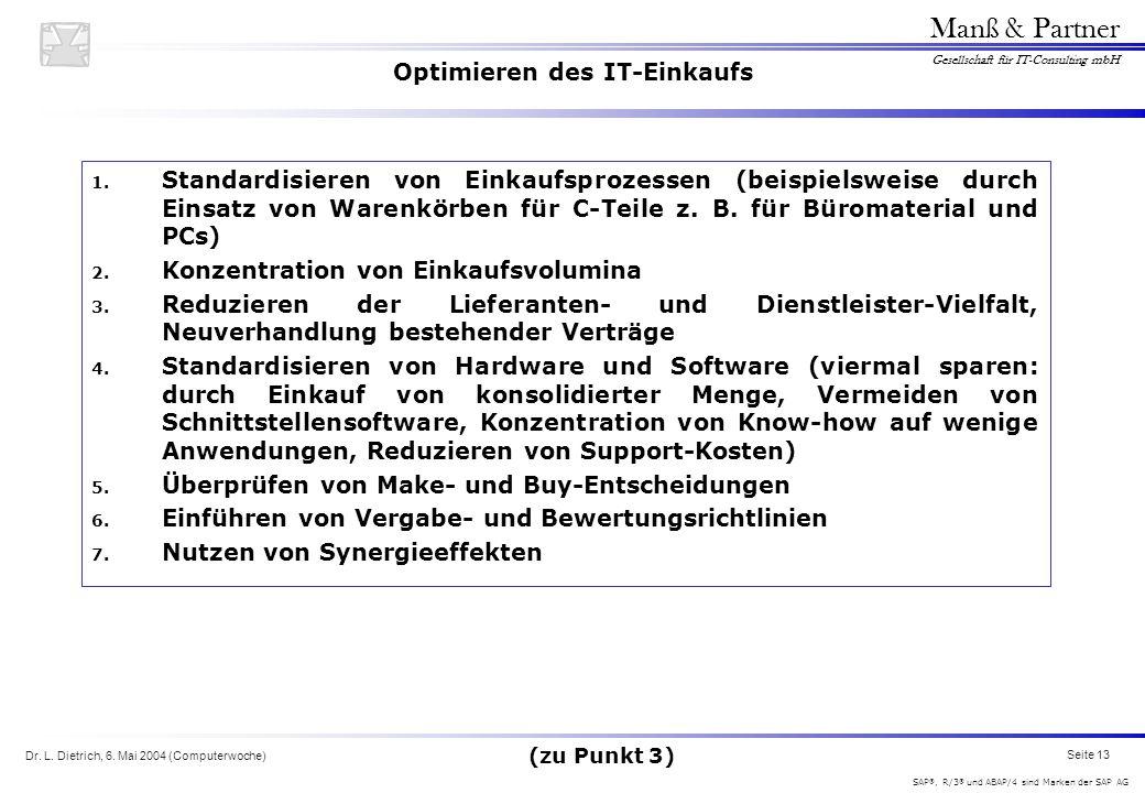 Dr. L. Dietrich, 6. Mai 2004 (Computerwoche) Seite 13 Manß & Partner Gesellschaft für IT-Consulting mbH SAP ®, R/3 ® und ABAP/4 sind Marken der SAP AG