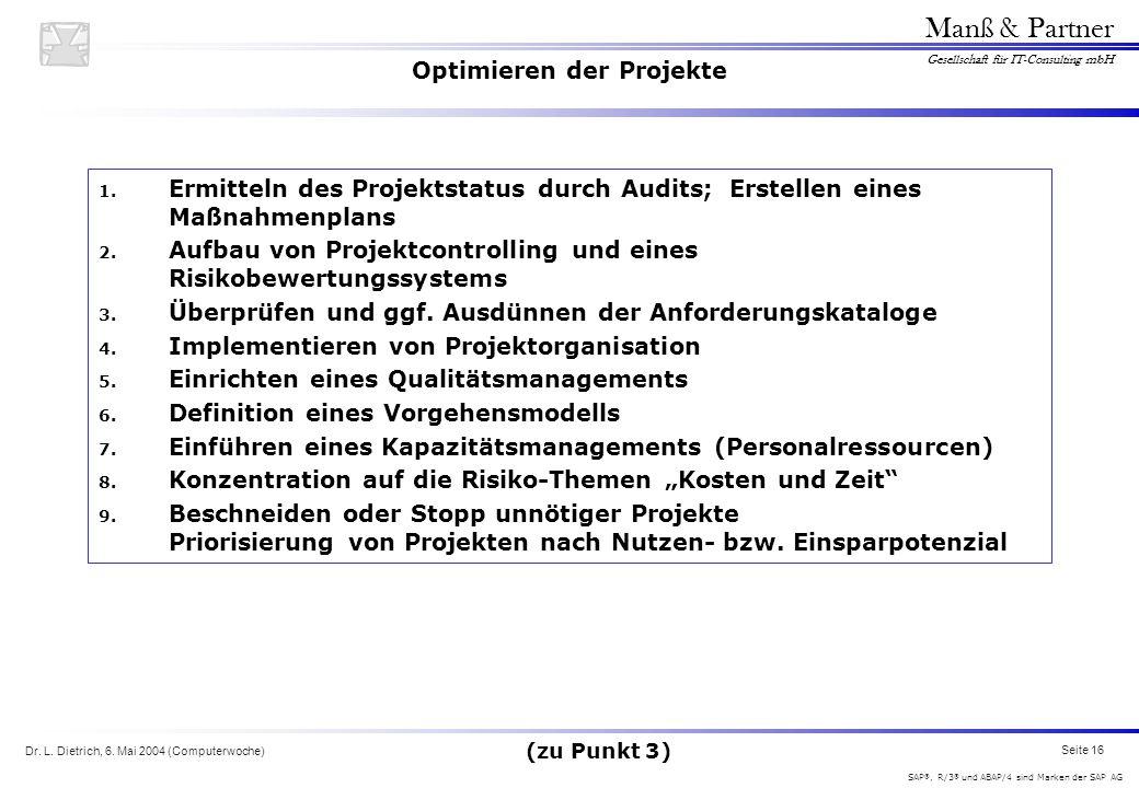 Dr. L. Dietrich, 6. Mai 2004 (Computerwoche) Seite 16 Manß & Partner Gesellschaft für IT-Consulting mbH SAP ®, R/3 ® und ABAP/4 sind Marken der SAP AG