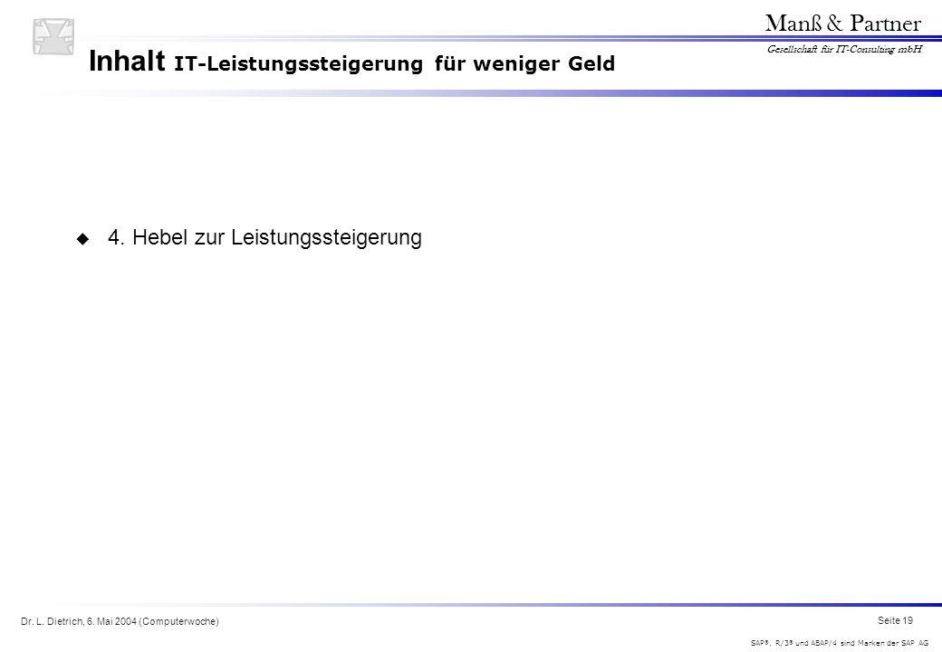 Dr. L. Dietrich, 6. Mai 2004 (Computerwoche) Seite 19 Manß & Partner Gesellschaft für IT-Consulting mbH SAP ®, R/3 ® und ABAP/4 sind Marken der SAP AG