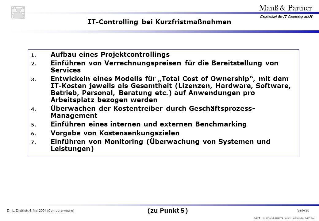 Dr. L. Dietrich, 6. Mai 2004 (Computerwoche) Seite 26 Manß & Partner Gesellschaft für IT-Consulting mbH SAP ®, R/3 ® und ABAP/4 sind Marken der SAP AG