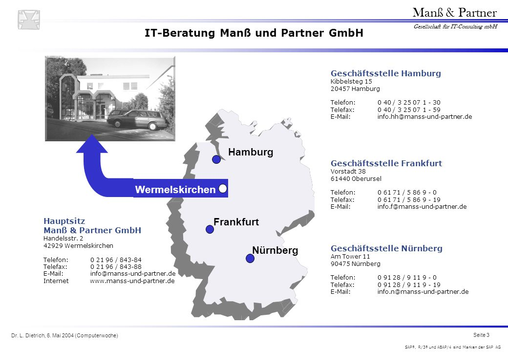 Dr. L. Dietrich, 6. Mai 2004 (Computerwoche) Seite 3 Manß & Partner Gesellschaft für IT-Consulting mbH SAP ®, R/3 ® und ABAP/4 sind Marken der SAP AG