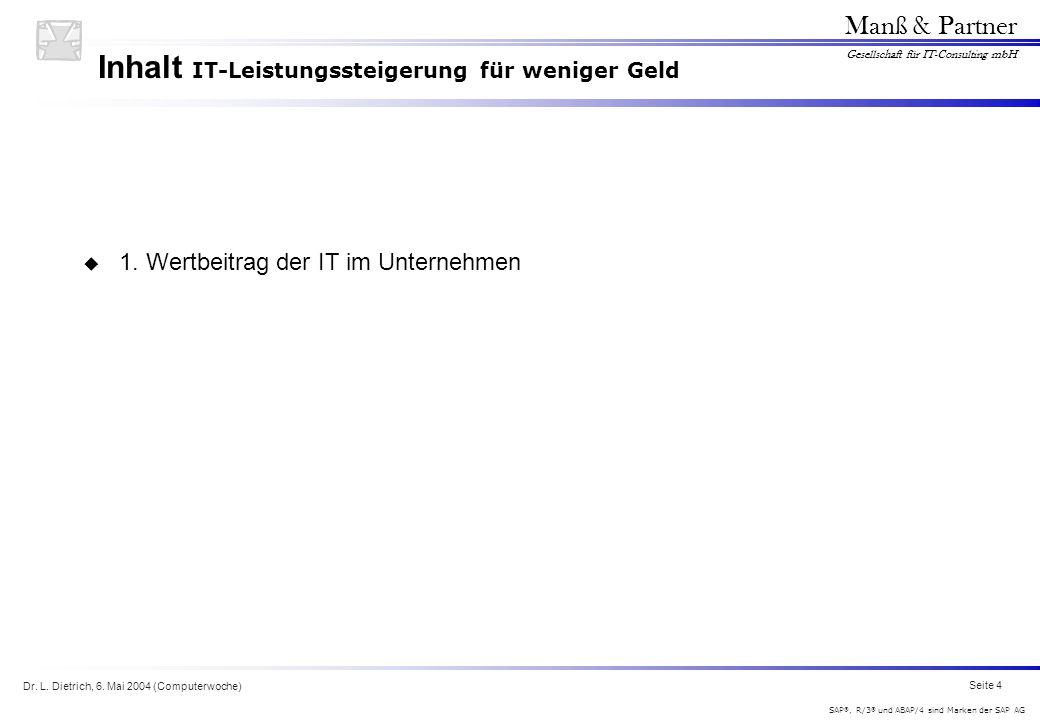 Dr. L. Dietrich, 6. Mai 2004 (Computerwoche) Seite 4 Manß & Partner Gesellschaft für IT-Consulting mbH SAP ®, R/3 ® und ABAP/4 sind Marken der SAP AG
