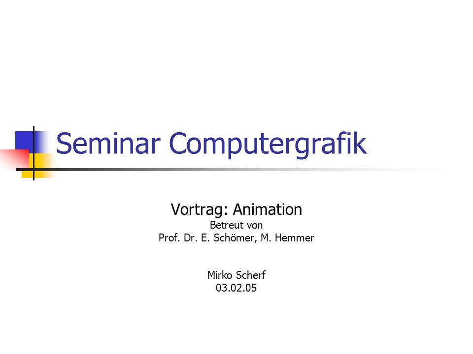Seminar Computergrafik Vortrag: Animation Betreut von Prof. Dr. E. Schömer, M. Hemmer Mirko Scherf 03.02.05