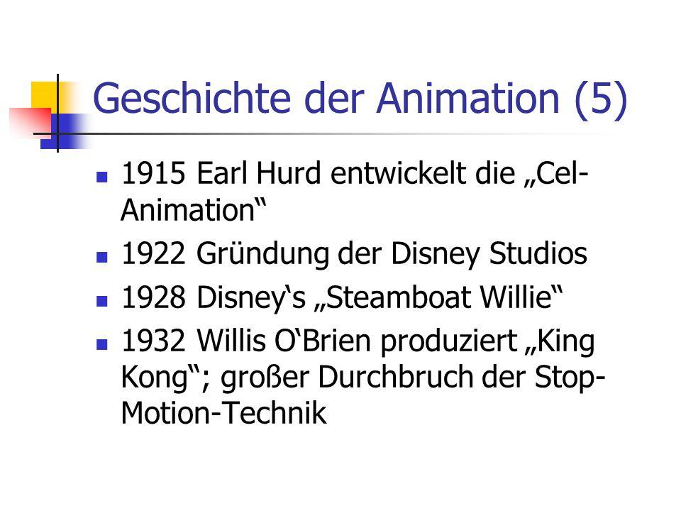 """Geschichte der Animation (5) 1915 Earl Hurd entwickelt die """"Cel- Animation"""" 1922 Gründung der Disney Studios 1928 Disney's """"Steamboat Willie"""" 1932 Wil"""