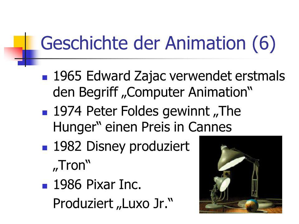 """Geschichte der Animation (6) 1965 Edward Zajac verwendet erstmals den Begriff """"Computer Animation"""" 1974 Peter Foldes gewinnt """"The Hunger"""" einen Preis"""