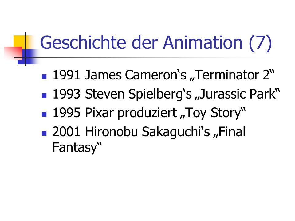 """Geschichte der Animation (7) 1991 James Cameron's """"Terminator 2"""" 1993 Steven Spielberg's """"Jurassic Park"""" 1995 Pixar produziert """"Toy Story"""" 2001 Hirono"""