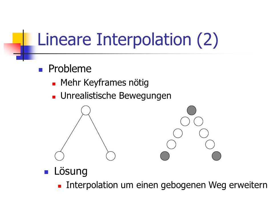 Lineare Interpolation (2) Probleme Mehr Keyframes nötig Unrealistische Bewegungen Lösung Interpolation um einen gebogenen Weg erweitern