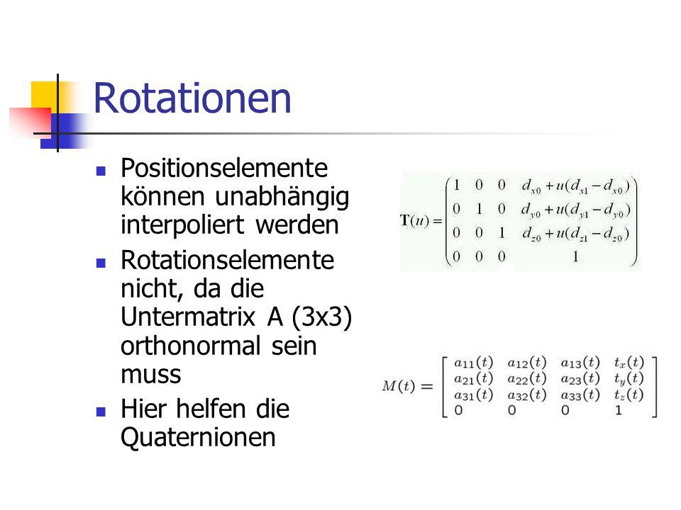 Rotationen Positionselemente können unabhängig interpoliert werden Rotationselemente nicht, da die Untermatrix A (3x3) orthonormal sein muss Hier helf