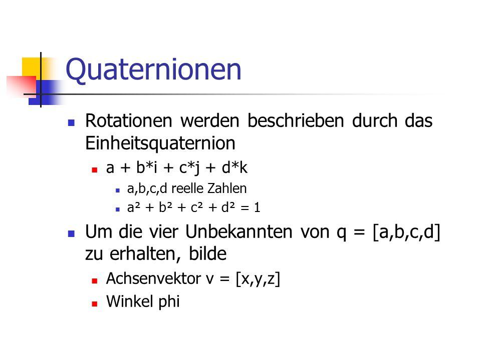 Quaternionen Rotationen werden beschrieben durch das Einheitsquaternion a + b*i + c*j + d*k a,b,c,d reelle Zahlen a² + b² + c² + d² = 1 Um die vier Un