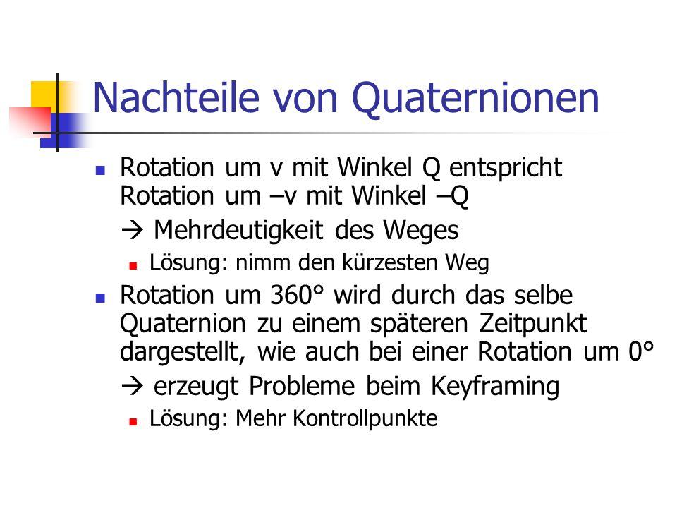 Nachteile von Quaternionen Rotation um v mit Winkel Q entspricht Rotation um –v mit Winkel –Q  Mehrdeutigkeit des Weges Lösung: nimm den kürzesten We