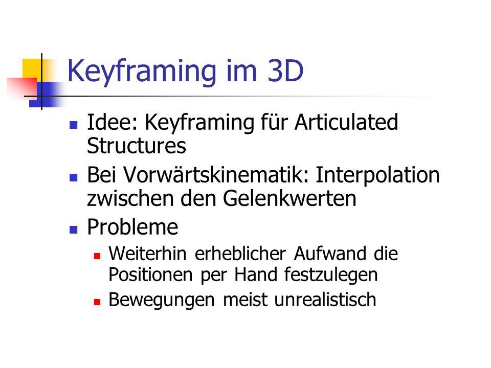 Keyframing im 3D Idee: Keyframing für Articulated Structures Bei Vorwärtskinematik: Interpolation zwischen den Gelenkwerten Probleme Weiterhin erhebli