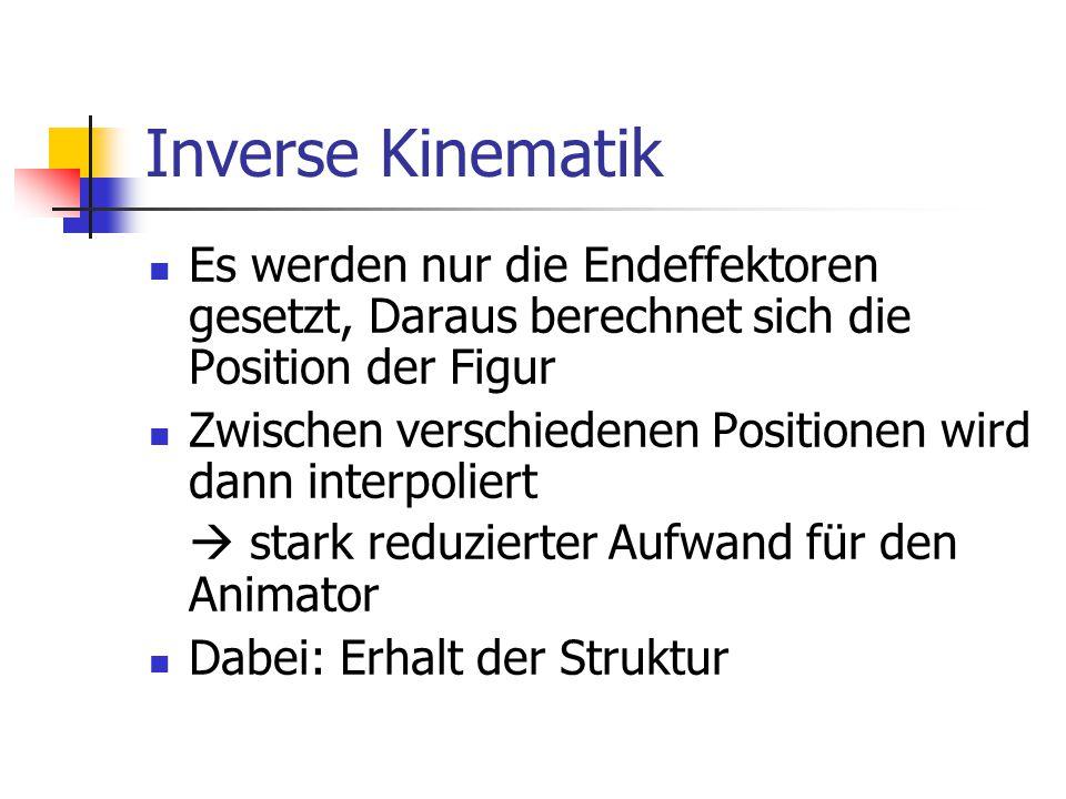 Inverse Kinematik Es werden nur die Endeffektoren gesetzt, Daraus berechnet sich die Position der Figur Zwischen verschiedenen Positionen wird dann in