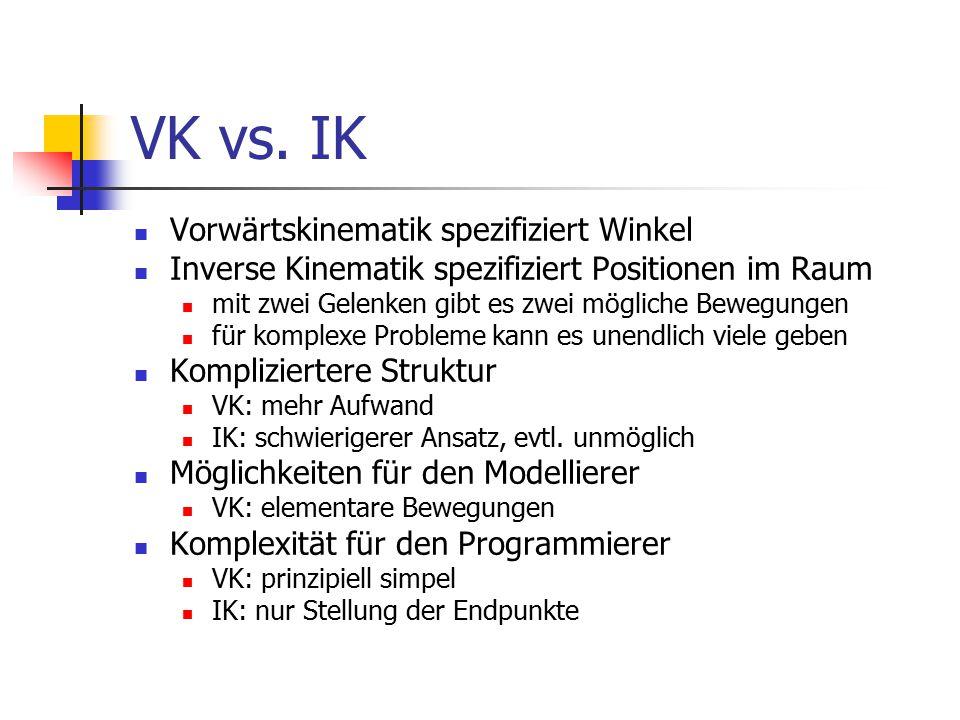 VK vs. IK Vorwärtskinematik spezifiziert Winkel Inverse Kinematik spezifiziert Positionen im Raum mit zwei Gelenken gibt es zwei mögliche Bewegungen f