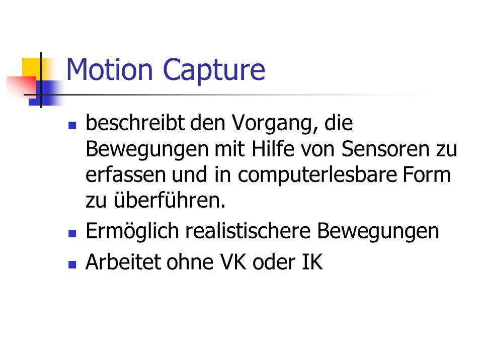 Motion Capture beschreibt den Vorgang, die Bewegungen mit Hilfe von Sensoren zu erfassen und in computerlesbare Form zu überführen. Ermöglich realisti