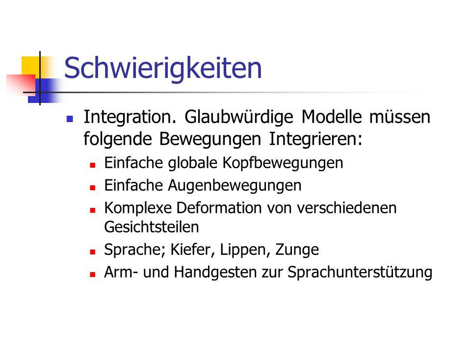 Schwierigkeiten Integration. Glaubwürdige Modelle müssen folgende Bewegungen Integrieren: Einfache globale Kopfbewegungen Einfache Augenbewegungen Kom