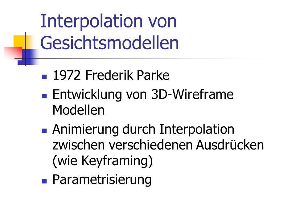 Interpolation von Gesichtsmodellen 1972 Frederik Parke Entwicklung von 3D-Wireframe Modellen Animierung durch Interpolation zwischen verschiedenen Aus