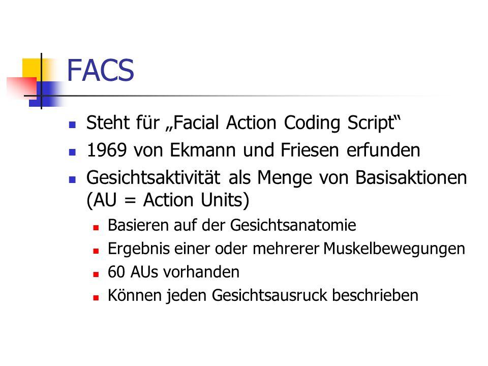 """FACS Steht für """"Facial Action Coding Script"""" 1969 von Ekmann und Friesen erfunden Gesichtsaktivität als Menge von Basisaktionen (AU = Action Units) Ba"""