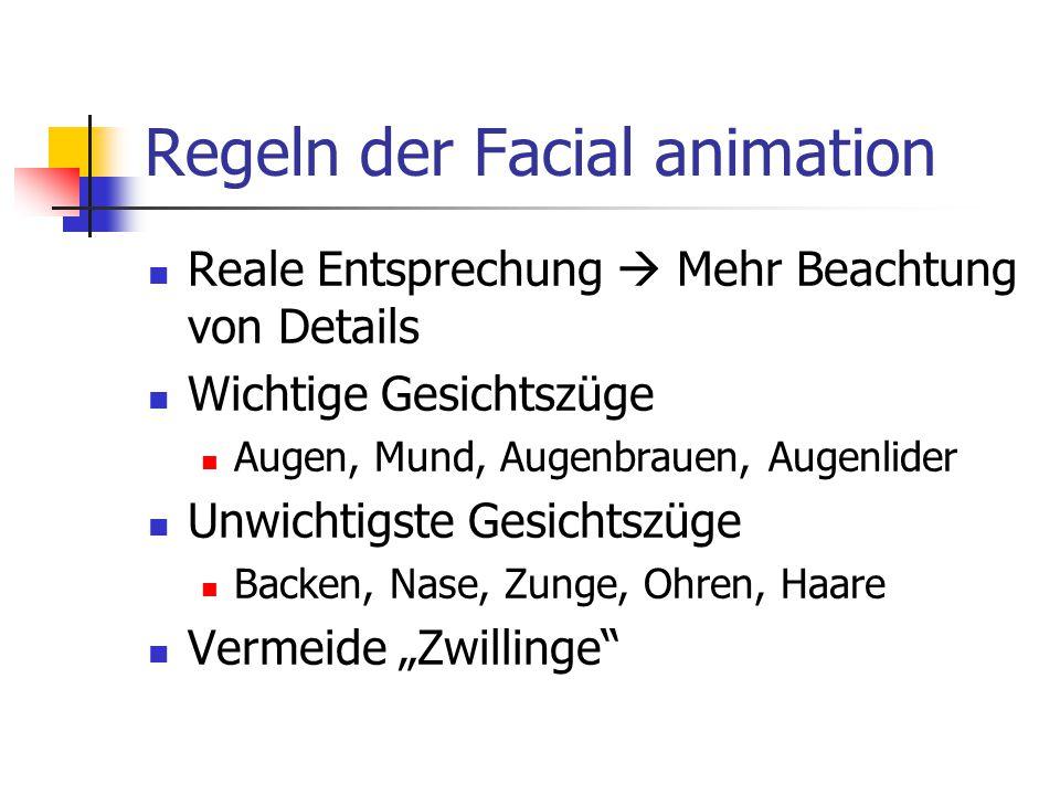 Regeln der Facial animation Reale Entsprechung  Mehr Beachtung von Details Wichtige Gesichtszüge Augen, Mund, Augenbrauen, Augenlider Unwichtigste Ge