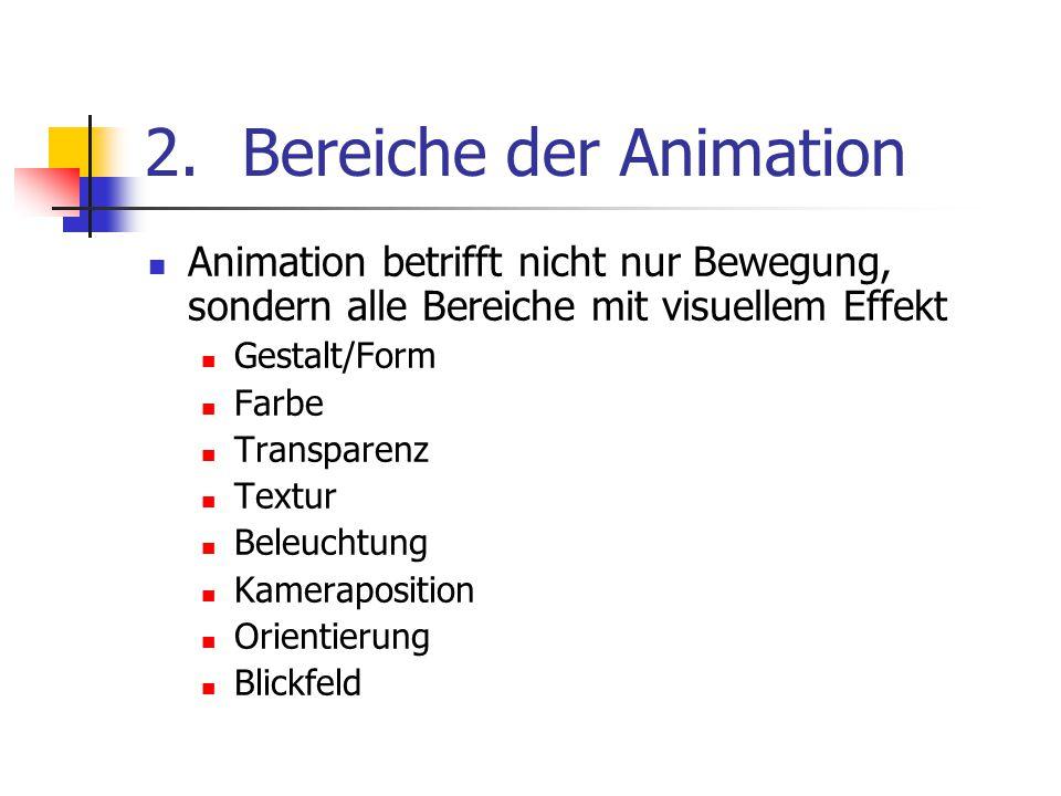 2.Bereiche der Animation Animation betrifft nicht nur Bewegung, sondern alle Bereiche mit visuellem Effekt Gestalt/Form Farbe Transparenz Textur Beleu