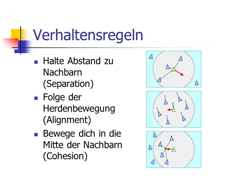 Verhaltensregeln Halte Abstand zu Nachbarn (Separation) Folge der Herdenbewegung (Alignment) Bewege dich in die Mitte der Nachbarn (Cohesion)
