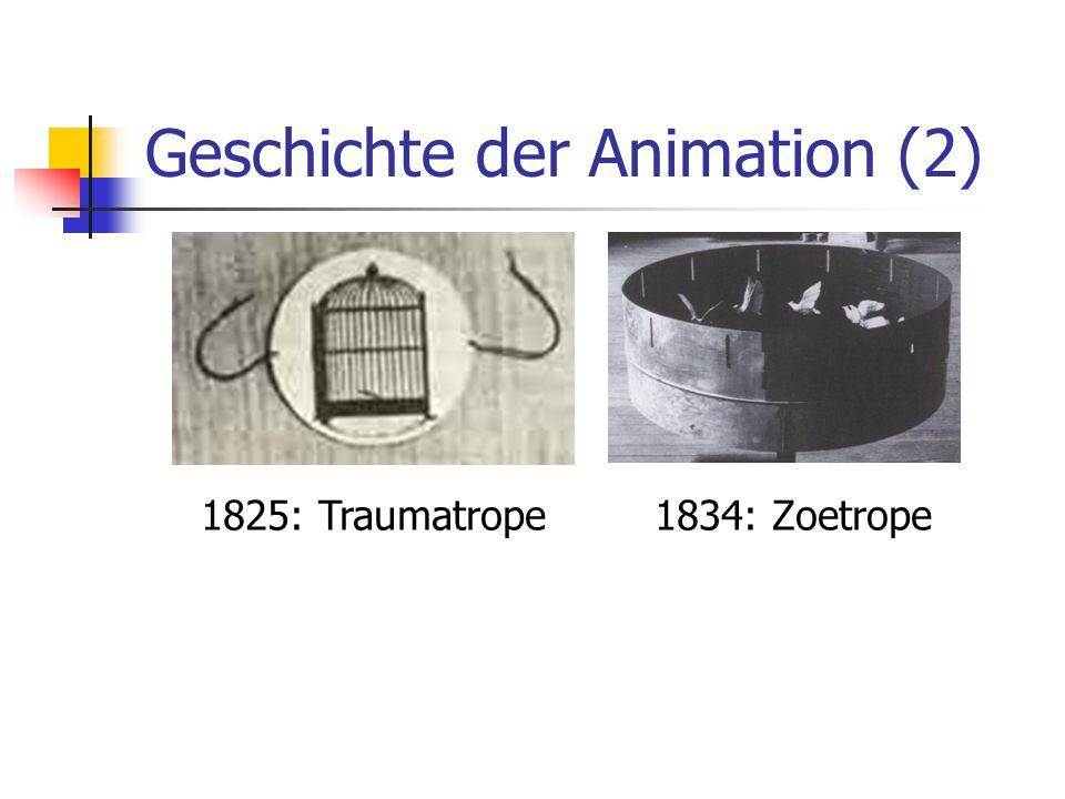 Geschichte der Animation (2) 1834: Zoetrope1825: Traumatrope