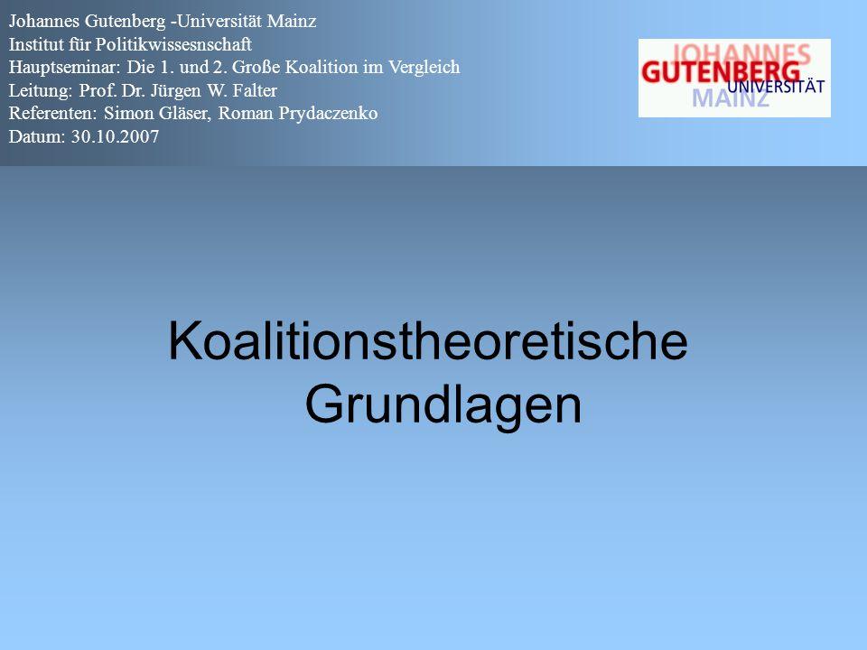 Johannes Gutenberg -Universität Mainz Institut für Politikwissesnschaft Hauptseminar: Die 1.