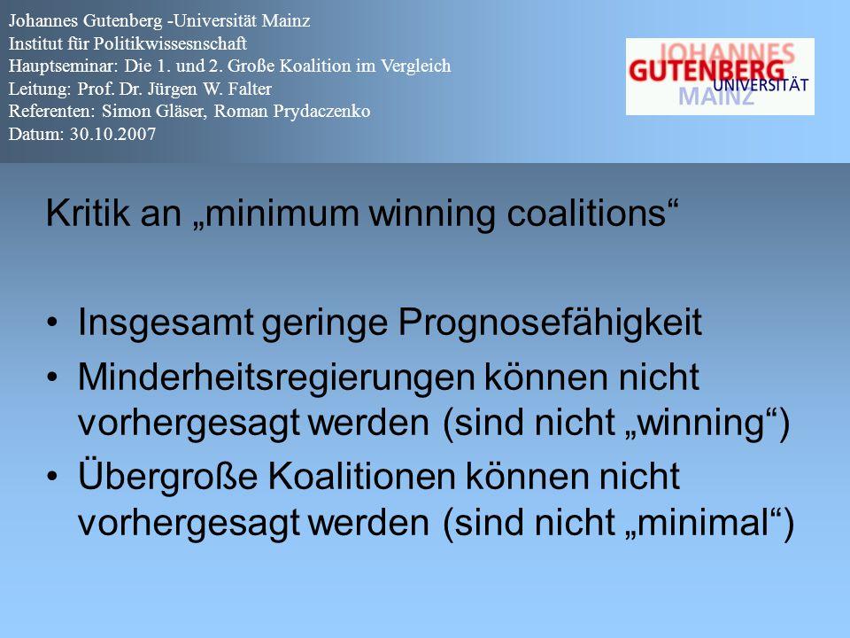 """Kritik an """"minimum winning coalitions"""" Insgesamt geringe Prognosefähigkeit Minderheitsregierungen können nicht vorhergesagt werden (sind nicht """"winnin"""
