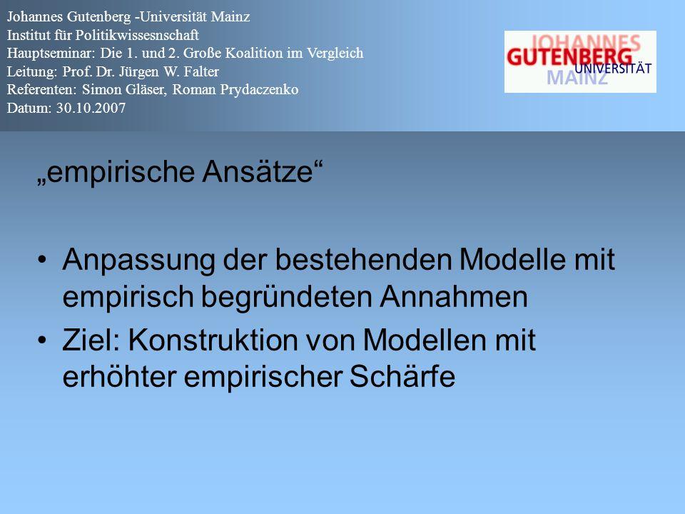 """""""empirische Ansätze"""" Anpassung der bestehenden Modelle mit empirisch begründeten Annahmen Ziel: Konstruktion von Modellen mit erhöhter empirischer Sch"""